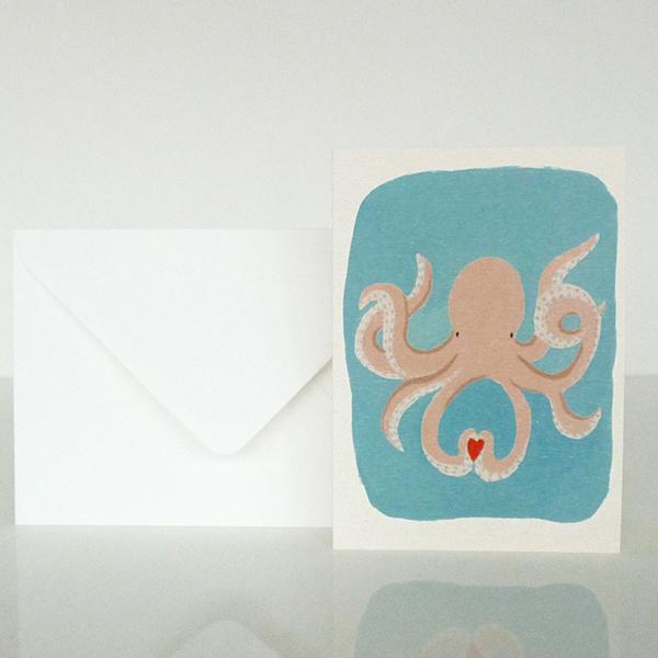 carte pieuvre season paper mignonne
