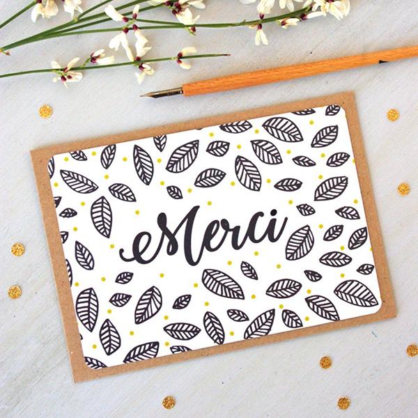 carte postale de remerciements
