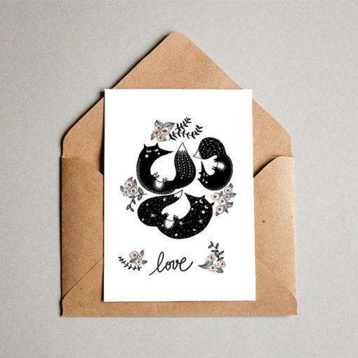 carte postale noir et blanc avec des motifs enfantins