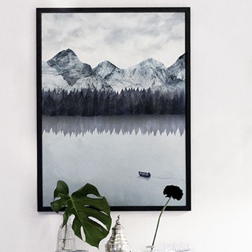 Poster d'un paysage suédois noir et blanc