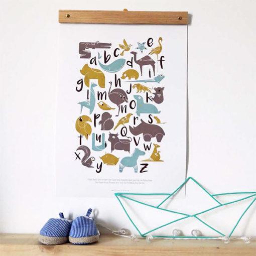 abécédaire animalier bleu, illustrations de la créatrice française delphine plisson