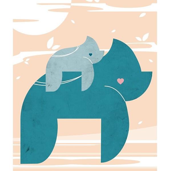 illustration pour chambre d'enfant d'un gorille qui porte son bébé sur son dos made in france créée par Delphine plisson