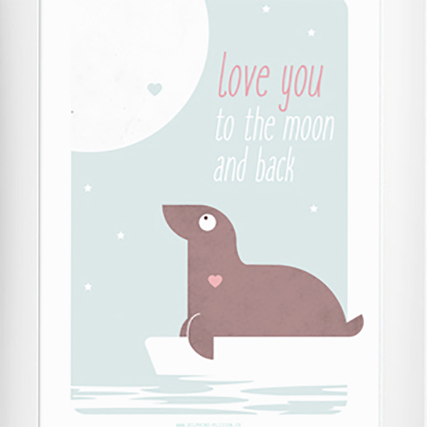 "illustration pour chambre d'enfant d'un petit animal mignon ""love you to the moon and back"""