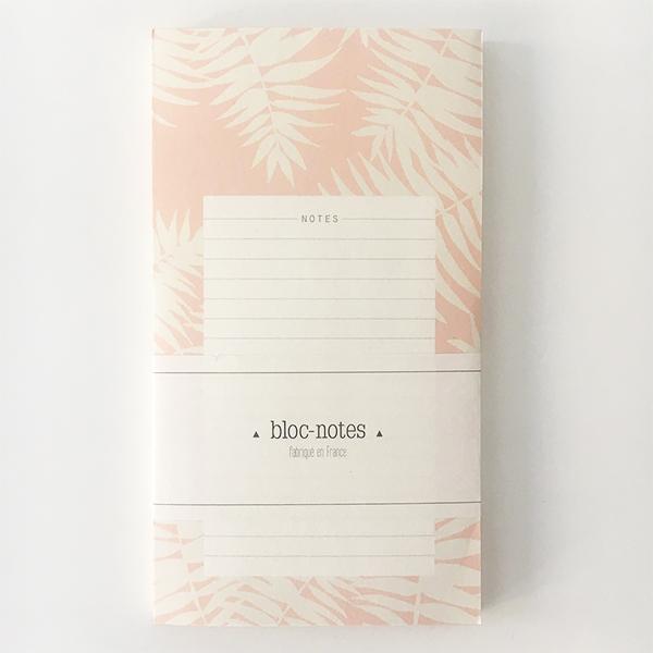 bloc notes fabriqué en France rose et blanc avec des motifs de fougères