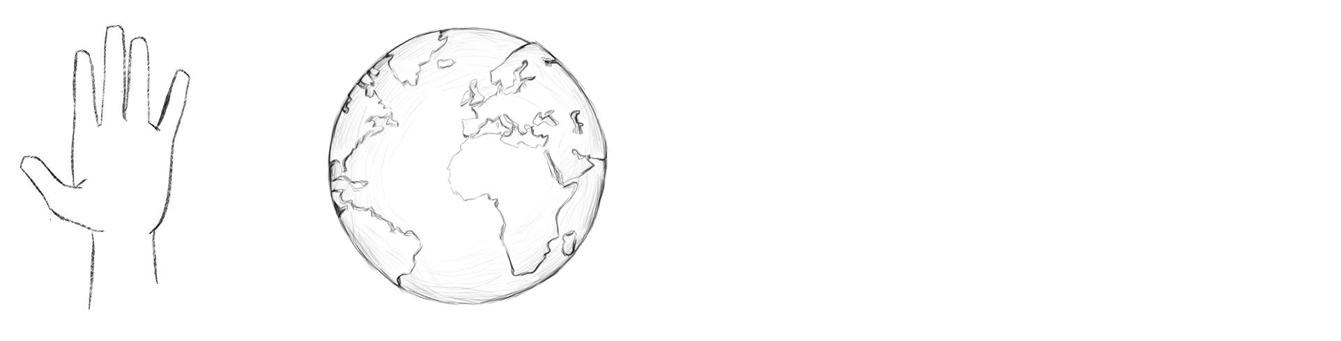 dessin d'une main et d'un planète