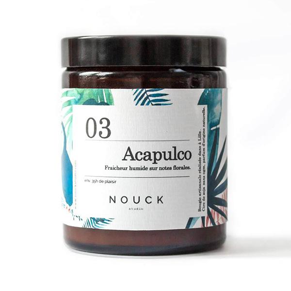 bougie acapulco de la marque Nouck Studio à la fraîcheur humide sur notes florales