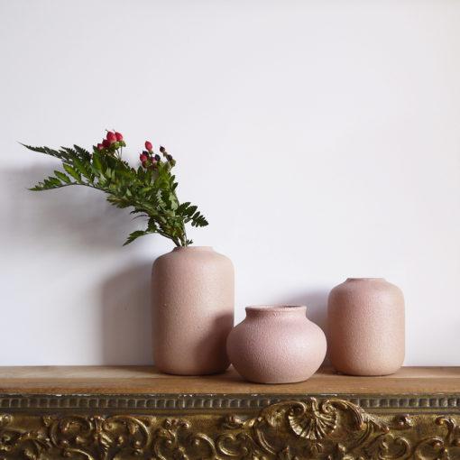 trio de vases rustiques roses poudrés