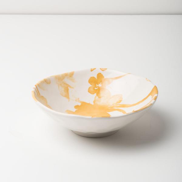 bol fleuri jaune et blanc