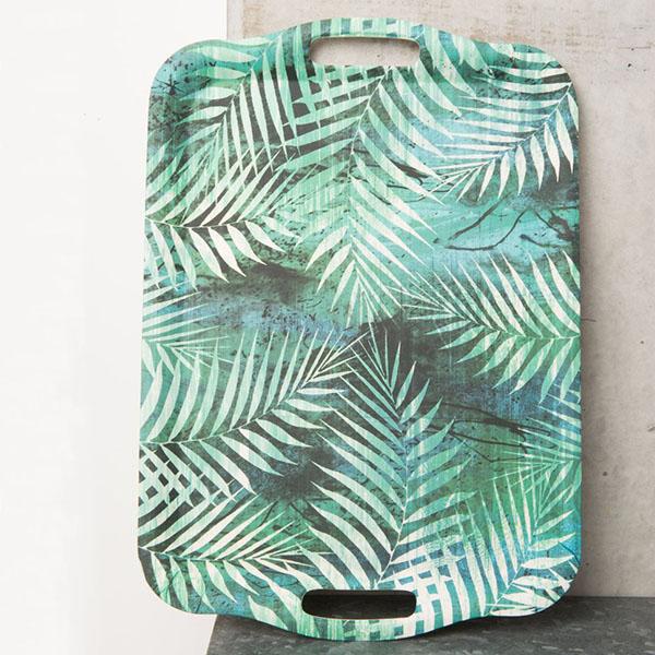 plateau en bambou à motifs palmiers