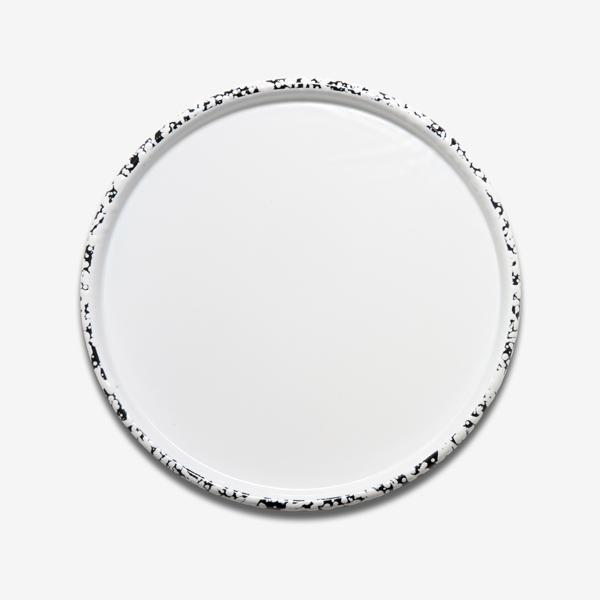 plateau en émail mouchetée noir et blanc bornn