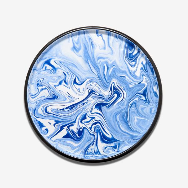 plateau en émail bleu marbré bornn