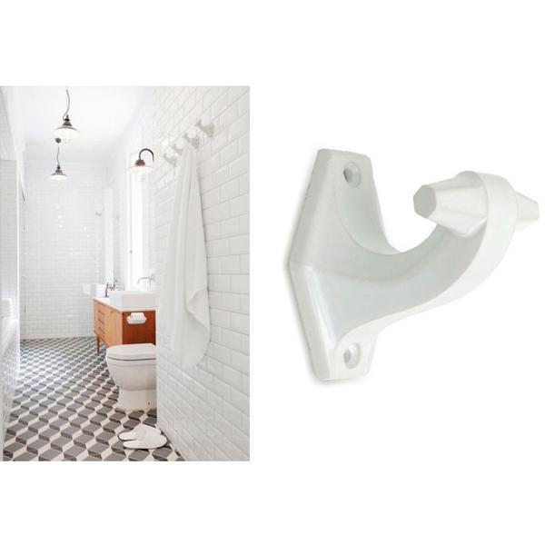 patère en porcelaine, Zangra pour peignoir ou serviette de bain